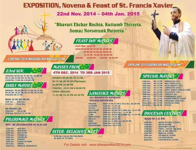 Mass timings for St.Francis XavierGoa