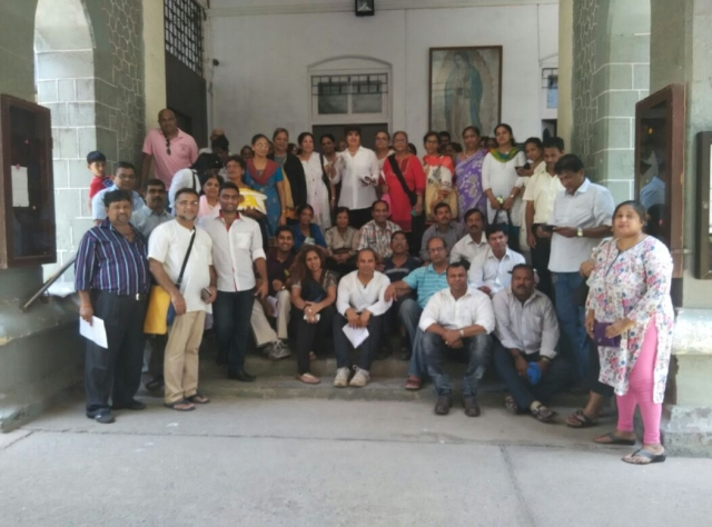 Teachers outside Archbishops House along with AOCC on 29th May 2015